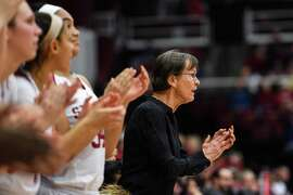 PALO ALTO, CA - JANUARY 20: The Setsuko Ishiyama Director of Womens Basketball Tara Vanderveer earned her 900th win at Stanford during the women's basketball game between the Washington State Cougars and the Stanford Cardinal at Maples Pavilion on January 20, 2019 in Palo Alto, CA. (Photo by Cody Glenn/Icon Sportswire via Getty Images)