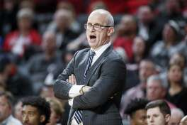 UConn coach Dan Hurley is seen here on the sidelines earlier this season. The Huskies fell to UCF on Thursday night, 73-67.