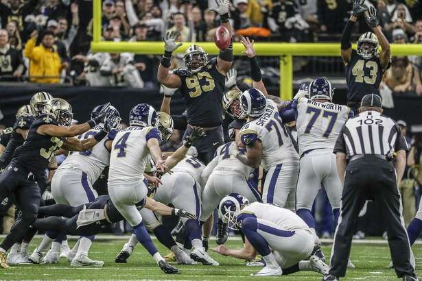 Los Angeles Rams kicker Greg Zuerlein connects on a 46-yard field goal to tie the score at 23 late in the fourth quarter against the New Orleans Saints in the NFC Championship game on Sunday, Jan. 20, 2019 at the Superdome in New Orleans, La.