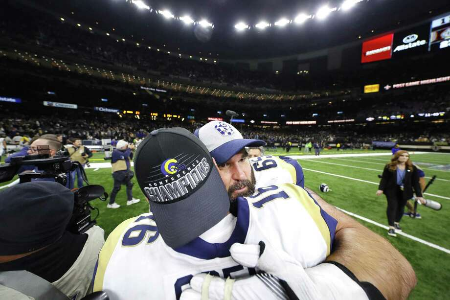 John Sullivan (65) and Jared Goff (16) of the Los Angeles Rams celebrate after defeating the New Orleans Saints in the NFC Championship game at the Mercedes-Benz Superdome Sunday. Photo: Kevin C. Cox / Getty Images / 2019 Getty Images
