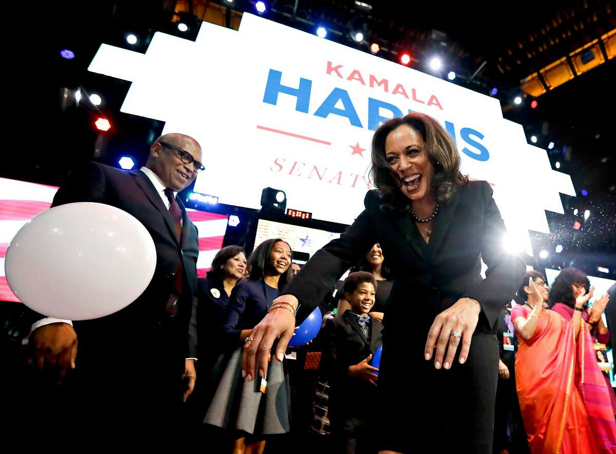 Kamala Harris greets supporters at a election night rally Wednesday, Nov. 9, 2016 in Los Angeles.
