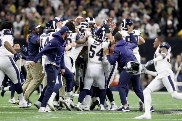 NEW ORLEANS, LOUISIANA - JANUARY 20: Johnny Hekker #6 and Greg Zuerlein #4 of the Los Angeles Rams celebrate after kicking the game winning field goal in overtime against the New Orleans Saints in the NFC Championship game at the Mercedes-Benz Superdome on January 20, 2019 in New Orleans, Louisiana. The Los Angeles Rams defeated the New Orleans Saints with a score of 26 to 23. (Photo by Streeter Lecka/Getty Images)