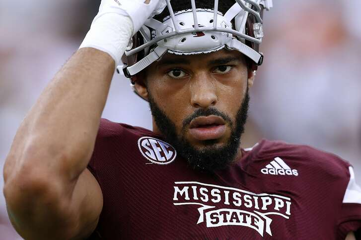 STARKVILLE, MS - SEPTEMBER 29: Montez Sweat #9 of the Mississippi State Bulldogs reacts during a game against the Florida Gators at Davis Wade Stadium on September 29, 2018 in Starkville, Mississippi. (Photo by