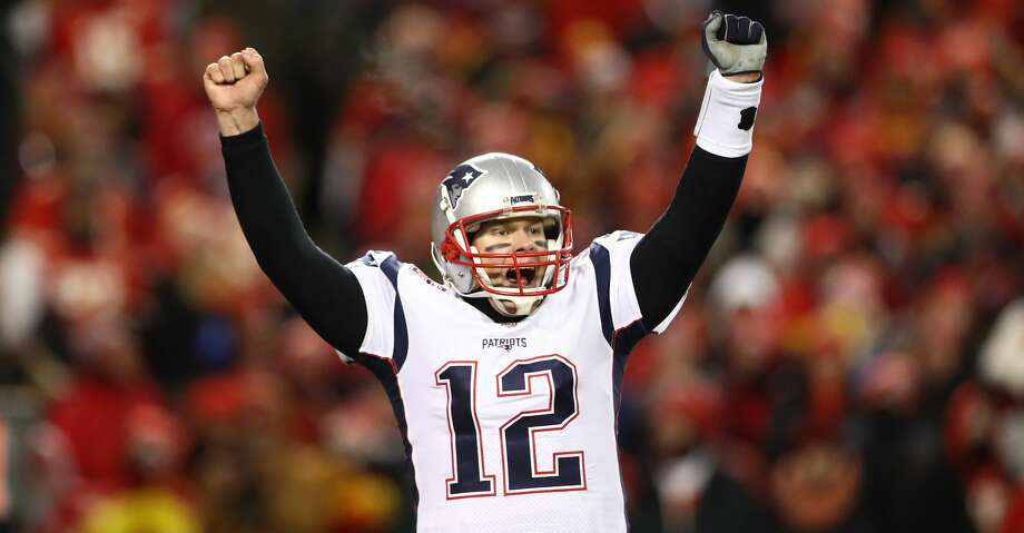 KANSAS CITY, MISSOURI - JANUARY 20: Tom Brady #12 of the New England Patriots celebrates after defeating the Kansas City Chiefs in overtime during the AFC Championship Game at Arrowhead Stadium on January 20, 2019 in Kansas City, Missouri. The Patriots defeated the Chiefs 37-31. (Photo by Ronald Martinez/Getty Images) Photo: Ronald Martinez/Getty Images