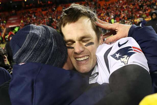 KANSAS CITY, MISSOURI - JANUARY 20: Tom Brady #12 of the New England Patriots reacts after defeating the Kansas City Chiefs in overtime during the AFC Championship Game at Arrowhead Stadium on January 20, 2019 in Kansas City, Missouri. The Patriots defeated the Chiefs 37-31. (Photo by Jamie Squire/Getty Images)