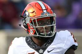MANHATTAN, KS - OCTOBER 13: Oklahoma State Cowboys safety Thabo Mwaniki (28) before a Big 12 football game between the Oklahoma State Cowboys and Kansas State Wildcats on October 13, 2018 at Bill Snyder Family Stadium in Manhattan, KS. (Photo by Scott Winters/Icon Sportswire via Getty Images)