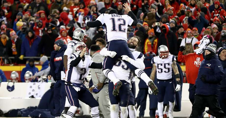 KANSAS CITY, MISSOURI - JANUARY 20: Tom Brady #12 of the New England Patriots celebrates with teammates after defeating the Kansas City Chiefs in overtime during the AFC Championship Game at Arrowhead Stadium on January 20, 2019 in Kansas City, Missouri. The Patriots defeated the Chiefs 37-31. (Photo by Jamie Squire/Getty Images) Photo: Jamie Squire/Getty Images
