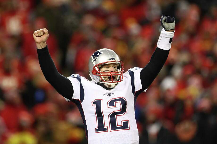 Patriots quarterback Tom Brady celebrates beating the Chiefs to earn a third straight trip to the Super Bowl and fourth in five years. Photo: Ronald Martinez / Getty Images / 2019 Getty Images