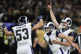 NEW ORLEANS, LOUISIANA - JANUARY 20: Greg Zuerlein #4 of the Los Angeles Rams celebrates after kicking the game winning field goal in overtime against the New Orleans Saints in the NFC Championship game at the Mercedes-Benz Superdome on January 20, 2019 in New Orleans, Louisiana. The Los Angeles Rams defeated the New Orleans Saints with a score of 26 to 23. (Photo by Jonathan Bachman/Getty Images)