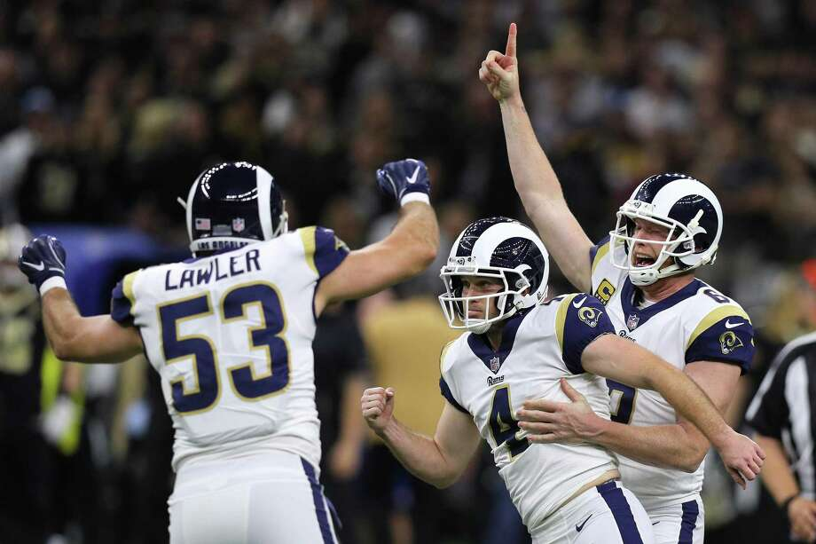 NEW ORLEANS, LOUISIANA - JANUARY 20: Greg Zuerlein #4 of the Los Angeles Rams celebrates after kicking the game winning field goal in overtime against the New Orleans Saints in the NFC Championship game at the Mercedes-Benz Superdome on January 20, 2019 in New Orleans, Louisiana. The Los Angeles Rams defeated the New Orleans Saints with a score of 26 to 23. (Photo by Jonathan Bachman/Getty Images) Photo: Jonathan Bachman / Getty Images / 2019 Getty Images