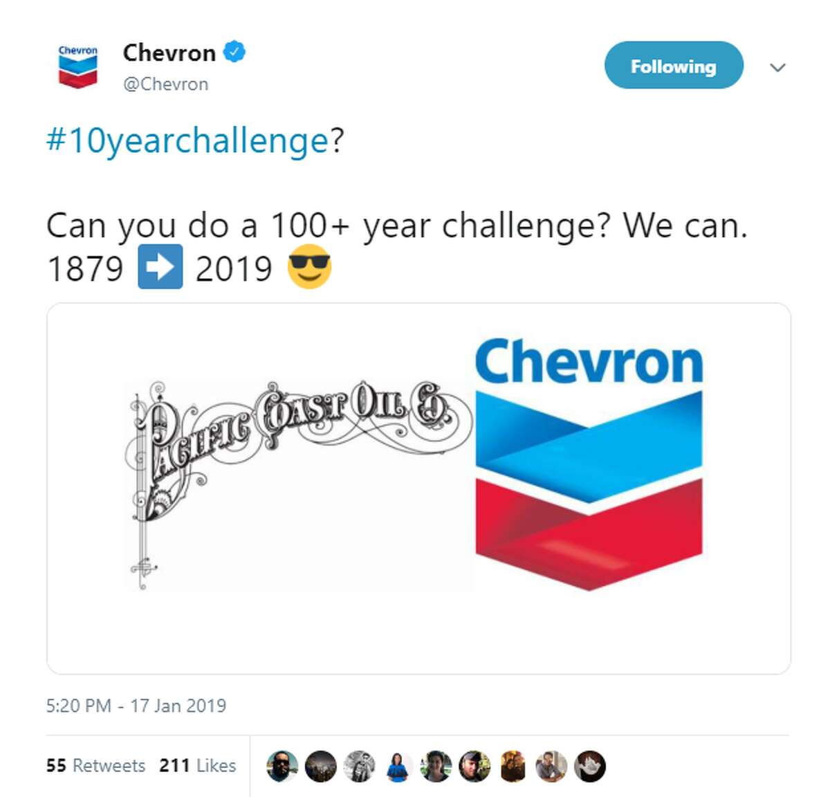 In a Jan. 17 tweet, Chevron issued a 100-year challenge as a response to the 10-year challenge craze on social media.