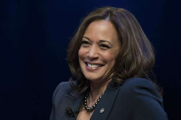 "Kicking off her book tour, Sen. Kamala Harris, D-Calif., speaks at George Washington University in Washington, Wednesday, Jan. 9, 2019. Sen. Harris describes herself as a ""progressive prosecutor"" in her memoir. (AP Photo/Sait Serkan Gurbuz)"