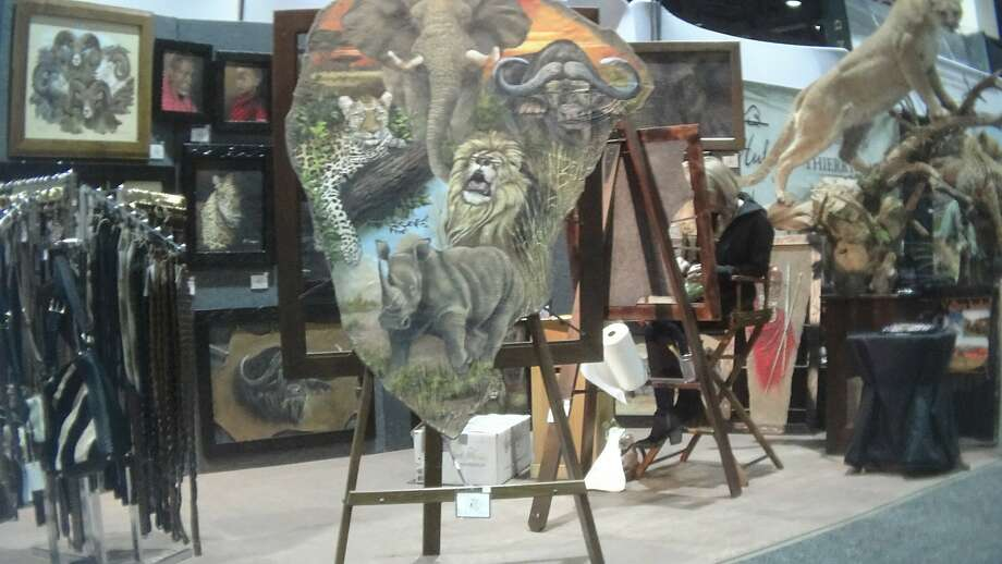 A painting on elephant hide was among the items for sale at the Safari Club International conference in Reno on Jan. 9. Photo: Humane Society Of The United States