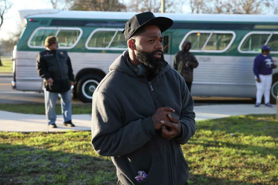 Beau Springs, 35, joins in a service at ML King Academy, before the Martin Luther King, Jr. March, Monday, January, 21, 2019. Photo: Jerry Lara, San Antonio Express-News / 2018 San Antonio Express-News