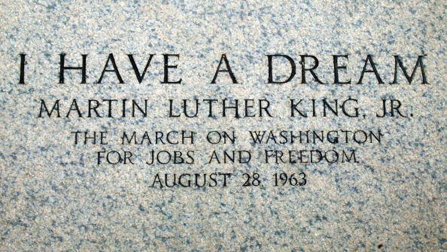"An engraving at the Lincoln Memorial marks the spot where Martin Luther King Jr. made his 1963 ""I Have a Dream"" speech August 22, 2003, in Washington, D.C. Photo by Mark Wilson/Getty Images"