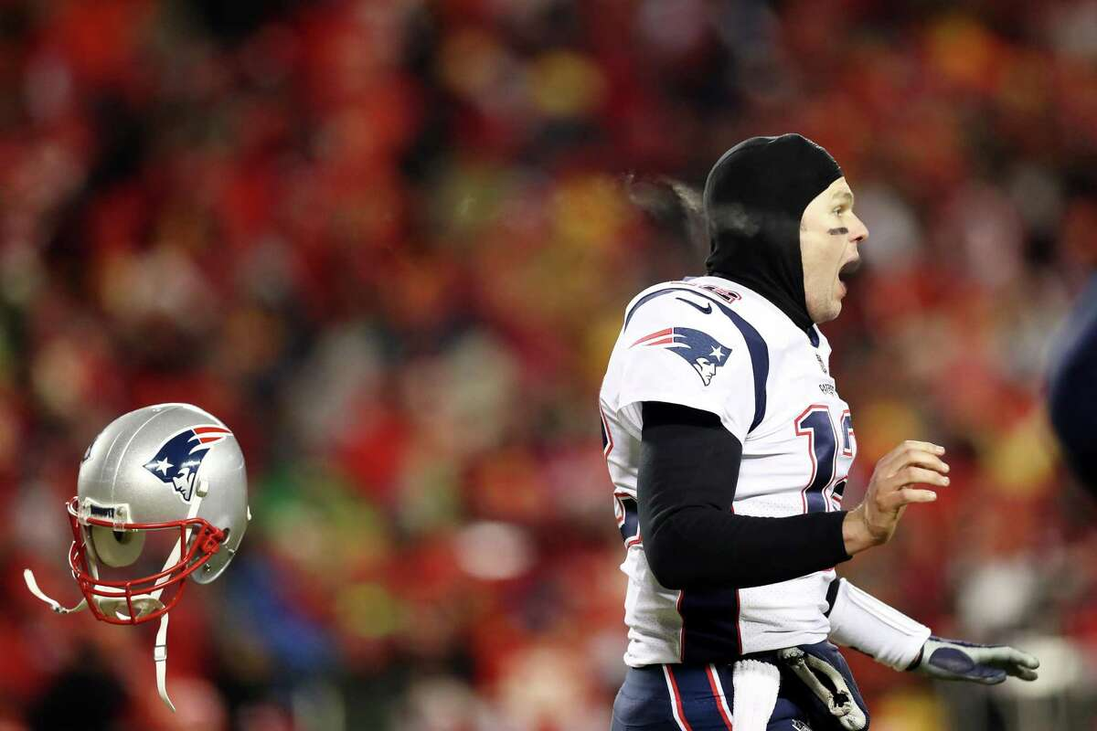Tom Brady celebrates his team's overtime win over the Chiefs and a third consecutive appearance in the Super Bowl.