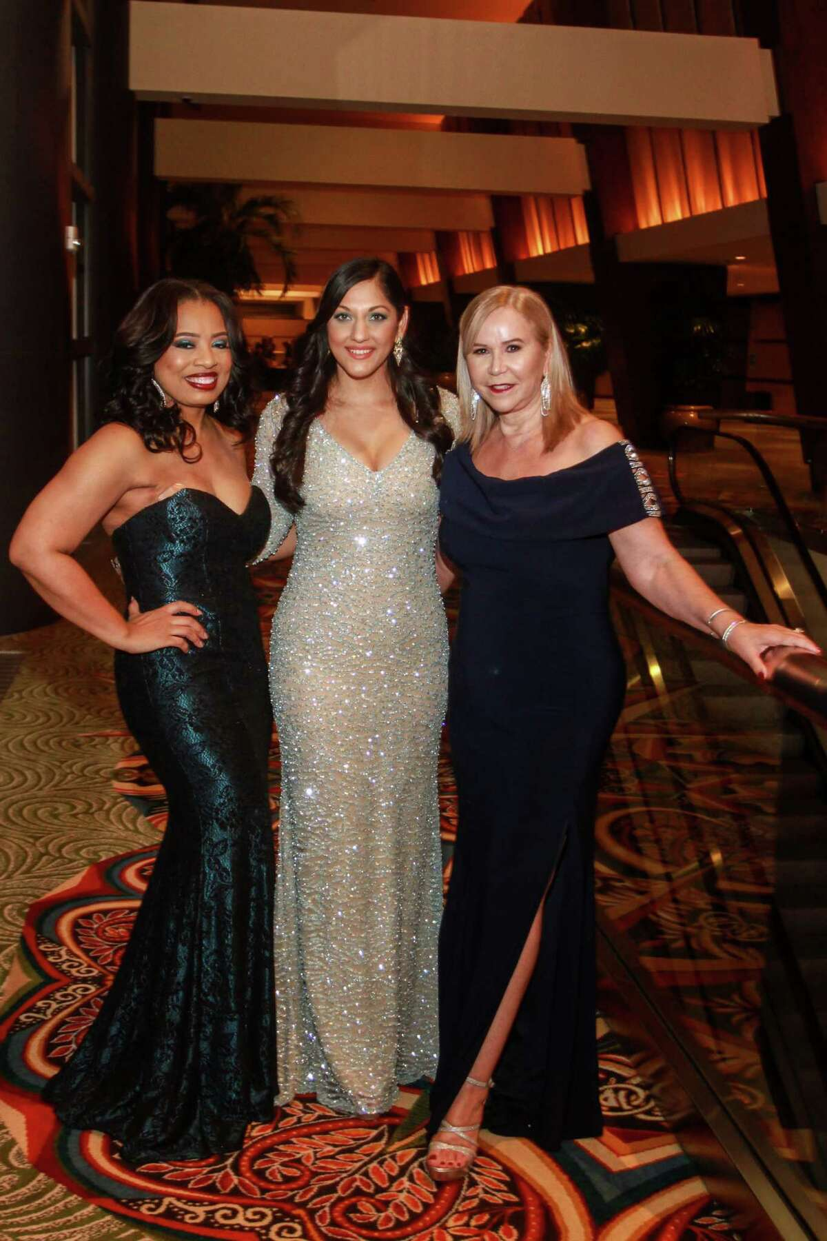 Chairs Shawntell McWilliams, from left, Dr. Sippi Khurana and Cyndy Garza Roberts at the 2019 Crystal Winter Ball.
