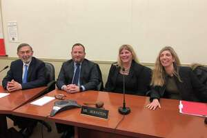 From left, Interim Superintendent Ralph Mayo, Board of Education Chairman Peter Bernstein, new superintendent Toni Jones, and school board member Kathleen Stowe, head of the search committee at Friday's announcement of the new superintendent at the Havemeyer Building.