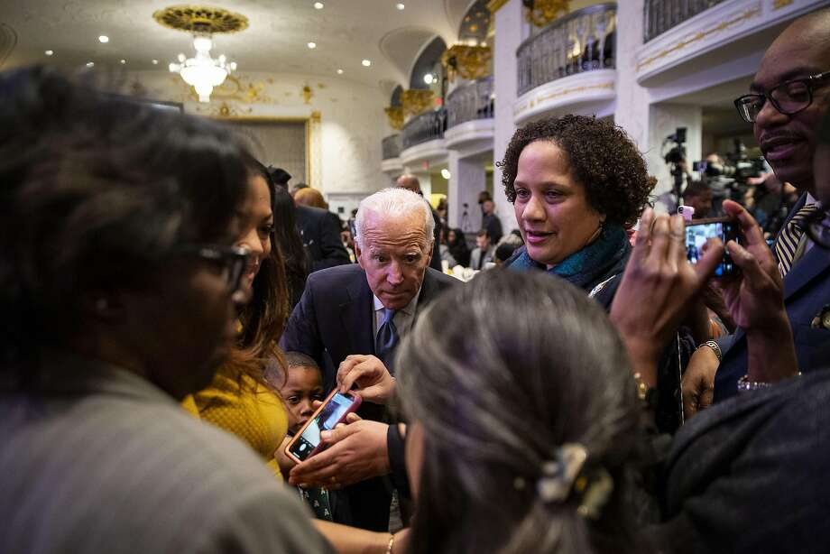 Former Vice President Joe Biden greets guests at a breakfast in Washington honoring the Rev. Martin Luther King Jr. Biden is weighing a run for the presidency in 2020. Photo: Al Drago / Getty Images