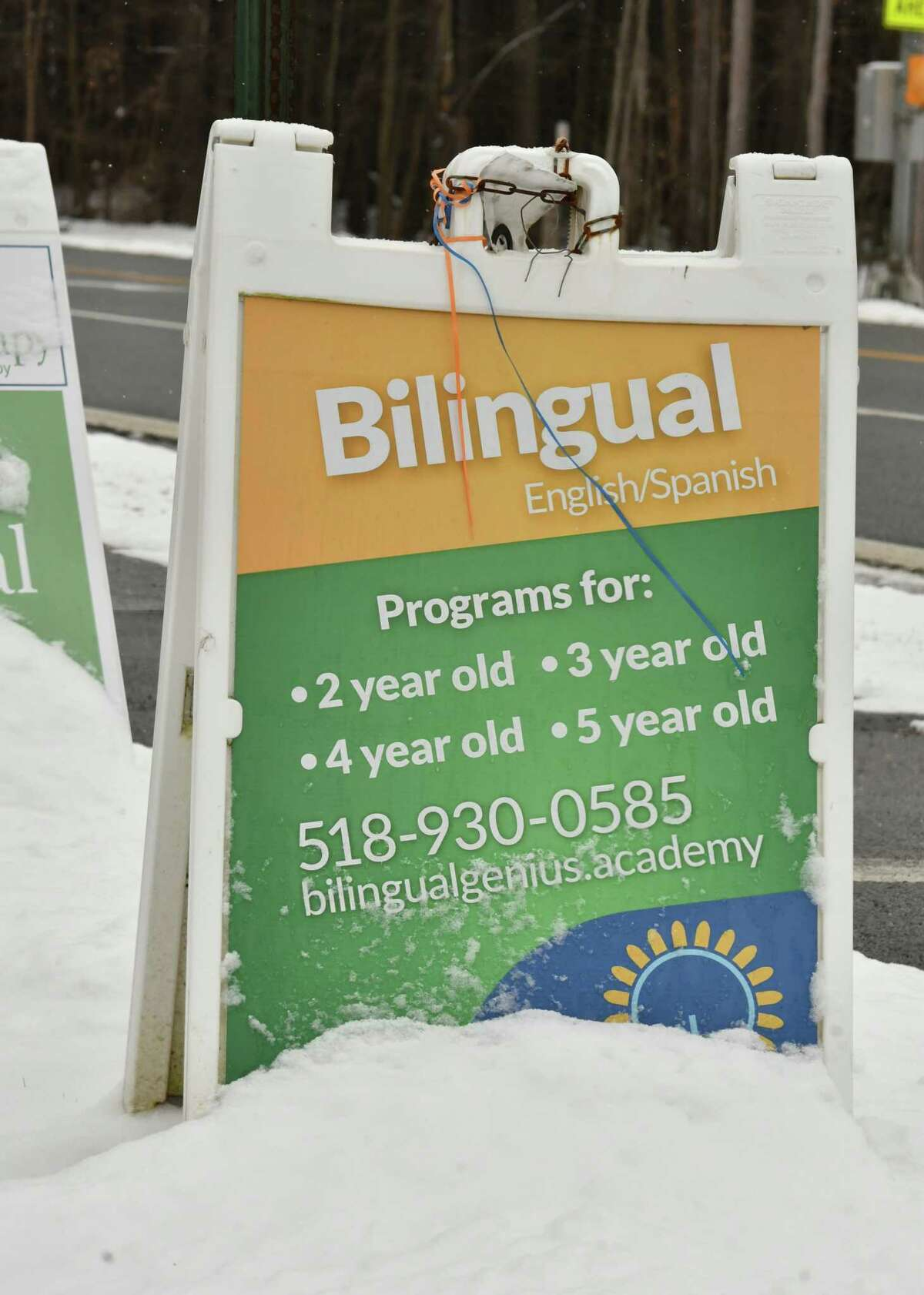 Sign near road for Bilingual Genuis Academy on Friday, Jan. 18, 2019 in Clifton Park, N.Y. The daycare center has many violations that parents don't know about and it is still operating. Their state licenses will be revoked soon. (Lori Van Buren/Times Union)