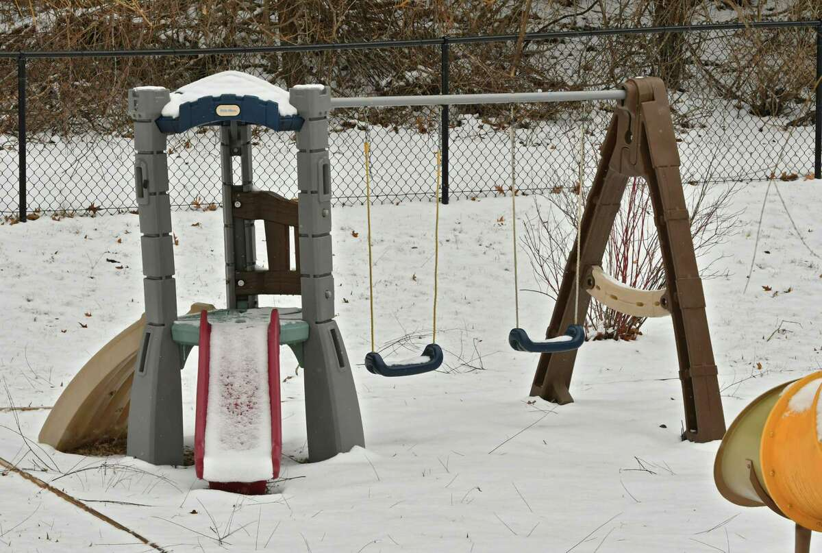 Swing set at Bilingual Genuis Academy on Friday, Jan. 18, 2019 in Clifton Park, N.Y. The daycare center has many violations that parents don't know about and it is still operating. Their state licenses will be revoked soon. (Lori Van Buren/Times Union)