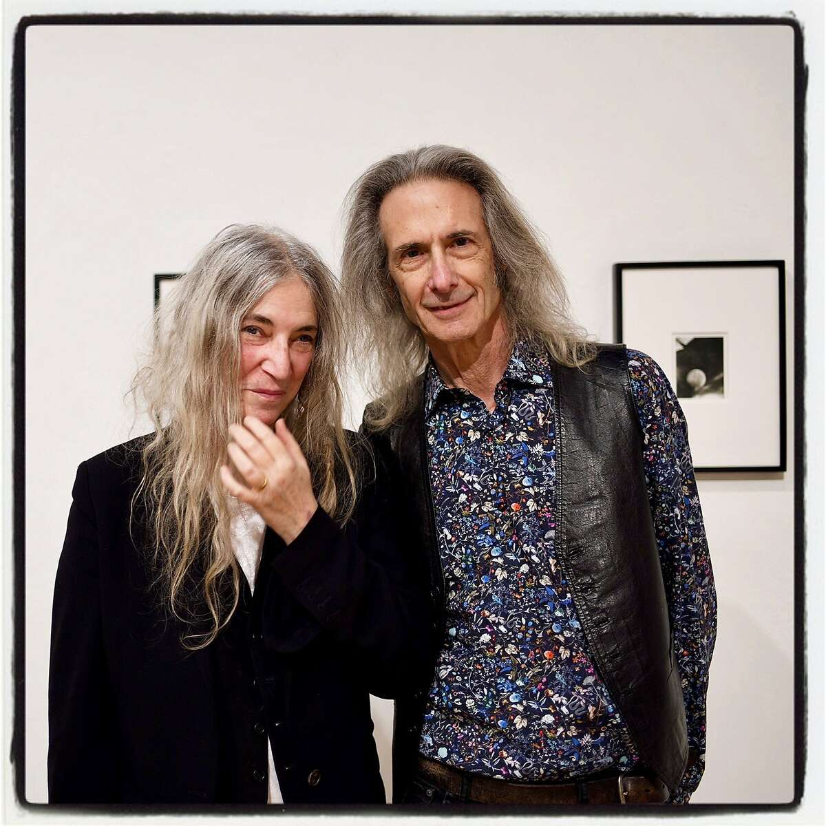 Artist Patti Smith and musician Lenny Kaye at SF Art Institute. Jan. 17, 2018.
