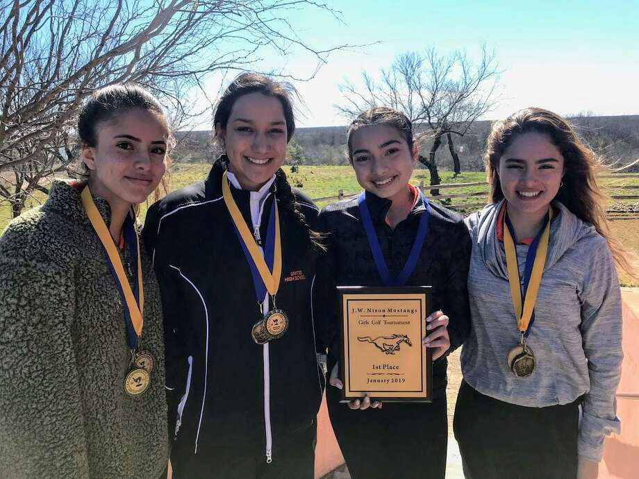 United won the weather-shortened J.W. Nixon Girls Invitational Golf Tournament Saturday. The Lady Longhorns had a team score of 585 over the 27 holes, and Alexander was 59 strokes back in second place. Pictured from left are Martina Portillo, Leezandra Aleman, Tania Gonzalez and Mariana Portillo. Photo: Courtesy Photo