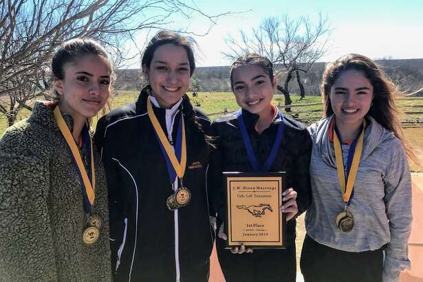 United won the weather-shortened J.W. Nixon Girls Invitational Golf Tournament Saturday. The Lady Longhorns had a team score of 585 over the 27 holes, and Alexander was 59 strokes back in second place. Pictured from left are Martina Portillo, Leezandra Aleman, Tania Gonzalez and Mariana Portillo.