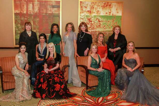 EMBARGOED FOR SOCIETY REPORTER UNTIL JAN. 22 Women of Distinction, Sneha Merchant, from left, Marilyn DeMontrond, Farida Abjani, Jo Lynn Falgout, Claire Thielke, Merele Yarborough, Carolyn Faulk, Dr Kelly Larkin, Gaynell Drexler, Jerre Williams, and Melissa Juneau at the 2019 Crystal Winter Ball.