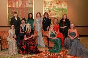 EMBARGOED FOR SOCIETY REPORTER UNTIL JAN. 22 Women of Distinction, Sneha Merchant, from left, Marilyn DeMontrond, Farida Abjani, Jo Lynn Falgout, Claire Thielke, Merele Yarborough, Carolyn Faulk, Dr Kelly Larkin, Gaynell Drexler, Jerre Williams, and Melissa Juneau at the 2019 Crystal Winter Ball.