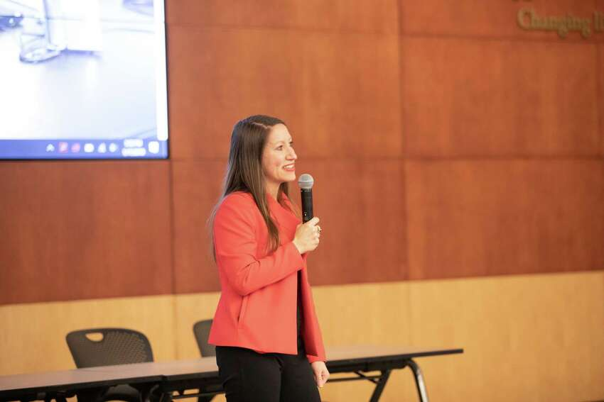 Albany Can Code Founder and CEO Annmarie Lanesey speaking at the group's graduation ceremony on Thursday, Jan. 17, 2019 at SEFCU's Dora Maxwell Auditorium in Albany.