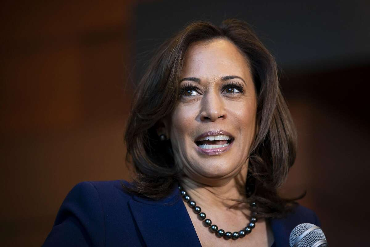 WASHINGTON, DC - JANUARY 21: U.S. Sen. Kamala Harris (D-CA) speaks to reporters after announcing her candidacy for President of the United States, at Howard University, her alma mater, on January 21, 2019 in Washington, DC. Harris is the first African-American woman to announce a run for the White House in 2020. (Photo by Al Drago/Getty Images)