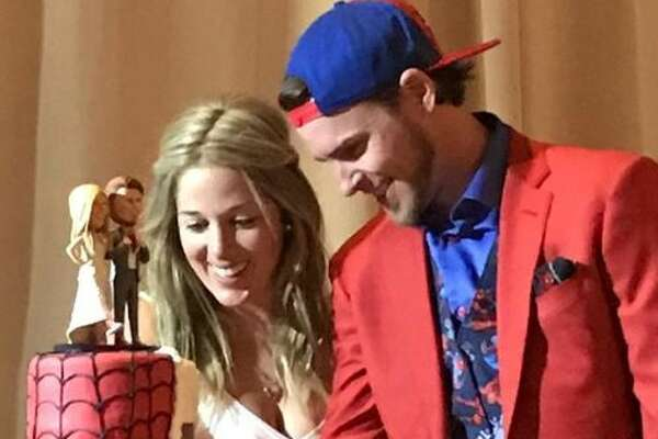 Via Instagram, Jett Reddick posted a photo of the couple's Spider-man themed wedding cake.