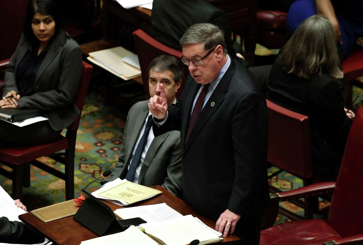 Republican Senator Jim Seward queries Democratic counterparts on a number of voter reform bills that were passed on Monday, Jan. 14, 2019, in the Senate Chamber at the Capitol in Albany, N.Y. (Will Waldron/Times Union)