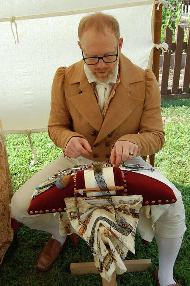 Instructor Mark Myers demonstrates bobbin lace-making at the Stephenson House during a special event in 2018. He will offer a workshop in the craft on Feb. 23. Photo: For The Intelligencer
