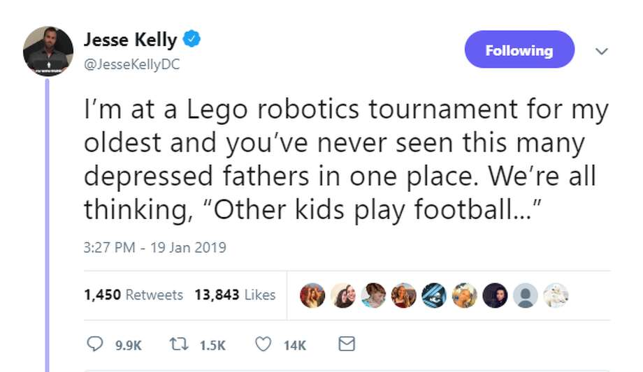 "PHOTOS: Houston talk radio host catches heat for tweets mocking son's robotics competition Conservative radio host Jesse Kelly caught some heat on social media over the weekend for a series of tweets that apparently mocked his son's robotics tournament in the Houston area. He told Chron.com on Monday that he's ""not sorry even a little bit"" because he was joking.  >>> See the backlash he faced online  Photo: Twitter"