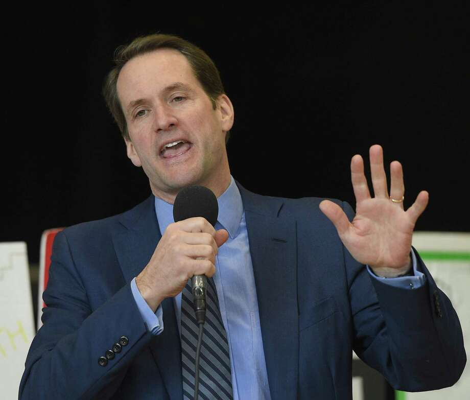 "U.S. Rep. Jim Himes speaks at the Annual MLK Celebration, presented by the Stamford MLK Committee, at the Yerwood Center in Stamford, Conn. Monday, Jan. 21, 2019. Attendees rallied at Bethel AME Church and then led a frigid march to the Yerwood Center. The ceremony featured a rendition of ""Lift Every Voice and Sing,"" dance by the Faith Church Youth Praise Dance Ministry, presentation of an MLK mural, and remarks by the march grand marshals, youth speakers and a keynote speech by the Hon. Richard Robinson, Chief Justice of the Connecticut State Court. Photo: Tyler Sizemore / Hearst Connecticut Media / Greenwich Time"