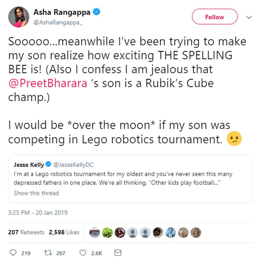 """Sooooo ... meanwhile I've been trying to make my son realize how exciting THE SPELLING BEE is! (Also I confess I am jealous that @PreetBharara's son is a Rubik's Cube champ.)