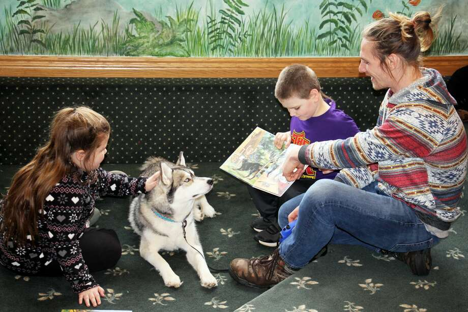 A friendly Siberian Husky named Akuna, along with owner Brad Iskow, were on hand Saturday afternoon at the Bad Axe Area District Library. Children had the opportunity to read a book to Akuna and take part in a Lego Challenge. Photo: Seth Stapleton/Huron Daily Tribune