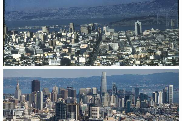 Top: The view from Twin Peaks in San Francisco, California, on Wednesday, Oct. 3, 2018. Bottom: View of San Francisco skyline from Twin Peaks, 1954
