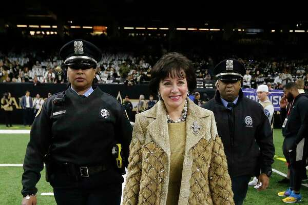 New Orleans Saints owner Gayle Benson arrives before the NFL football NFC championship game against the Los Angeles Rams, Sunday, Jan. 20, 2019, in New Orleans.