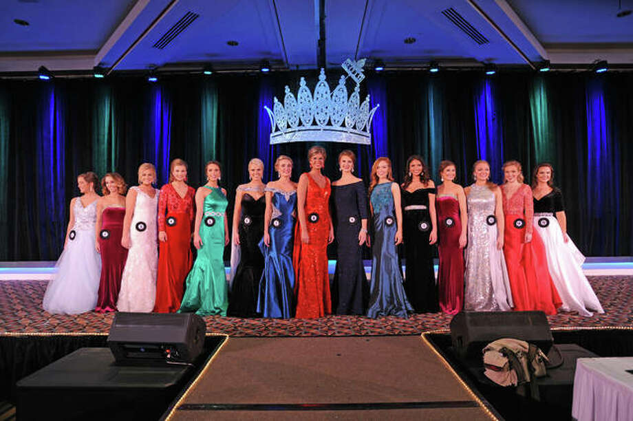 The top 15 finalists pose in their evening gowns Sunday evening. Miss Macoupin County Fair Anni Ibberson is finalist number 9 in the center; eventual winner Alexi Bledel is sixth from left. Photo: David Blanchette | For The Telegraph