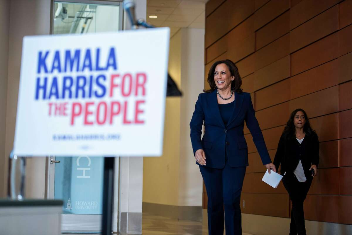 California Senator Kamala Harris approaches the podium at a press conference regarding her announcement to run for president in 2020 at Howard University in Washington, D.C. on January 21, 2019.