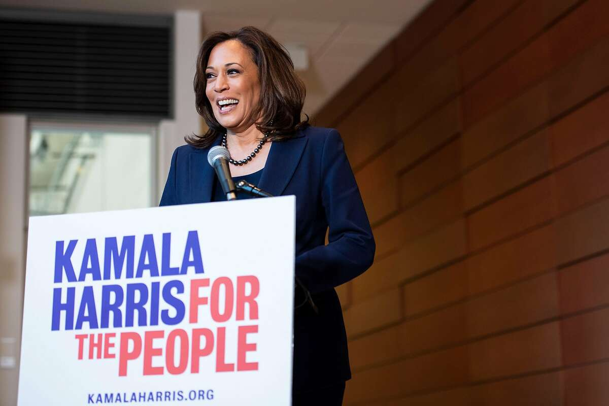 California Senator Kamala Harris answers questions from reporters during a press conference regarding her announcement to run for president in 2020 at Howard University in Washington, D.C. on January 21, 2019.