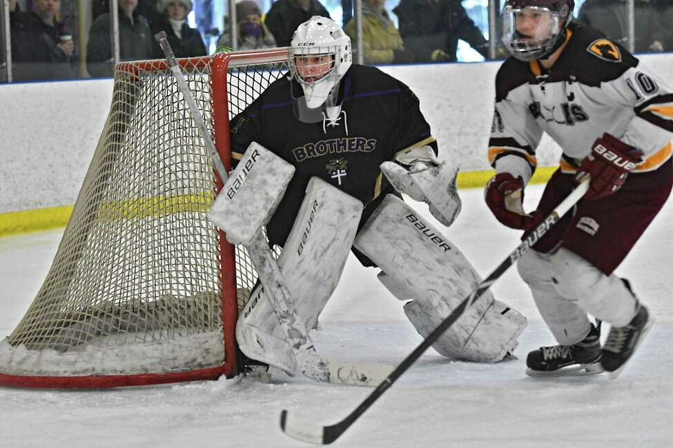 CBA goalie Josh Coburn defends his net during a hockey game against Burnt Hills-Ballston Spa at the Albany County Hockey Facility on Monday, Jan. 21, 2019 in Colonie, N.Y. (Lori Van Buren/Times Union)