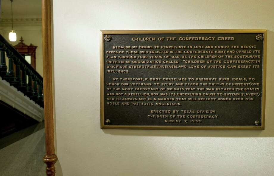 Texas will remove a 60-year-old Confederate plaque in the state Capitol that rejects slavery as an underlying cause of the Civil War. It was a necessary move. Photo: Jay Janner /Associated Press / Austin American-Statesman