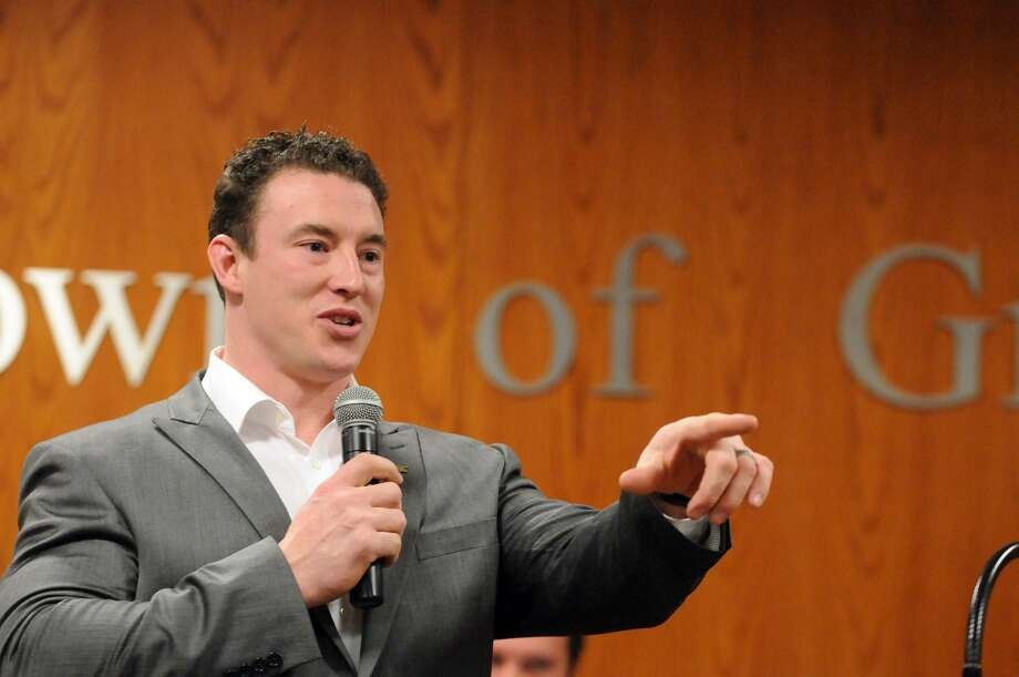 Carl Higbie addresses the crowd at the Greenwich Town Hall Meeting Room in Greenwich, Conn., Feb. 26, 2014. Photo: Keelin Daly / Keelin Daly / Stamford Advocate Freelance