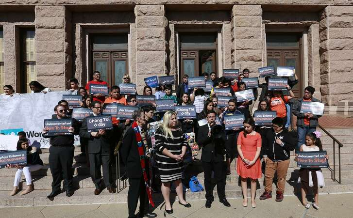 The group United We Dream gathers on the east side of the Texas Capitol to show they do not support Texas Senate Bill 4(SB4) during a rally in Austin, Wednesday, March 15, 2017. SB 4 would require all certain state, local, and campus police departments to comply with U.S. Customs and Immigration Enforcement (ICE) detainers. (Stephen Spillman / for Express-News)