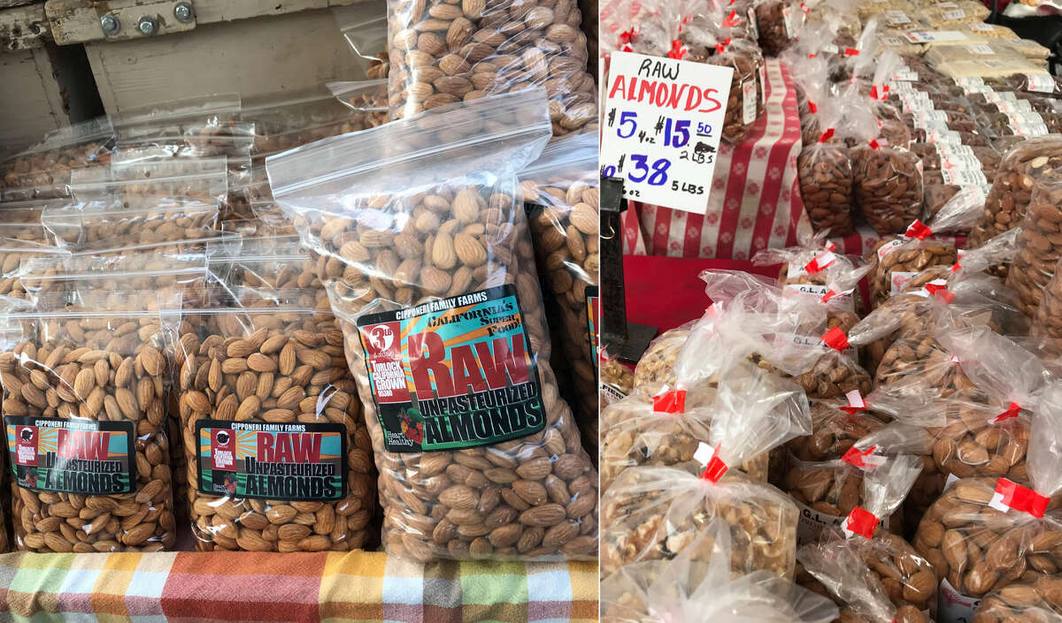 Almonds, pre-bagged Alemany Farmers' Market, left: $7 per pound; $20 for 3 pounds (.41 per ounce) Ferry Plaza Farmers' Market, right: $15.50 for 2 pounds (.48 per ounce)