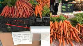 Vegetable prices from the Alemany Farmers Market (left) are compared to the pricing seen at the Ferry Plaza Farmers Market (right).